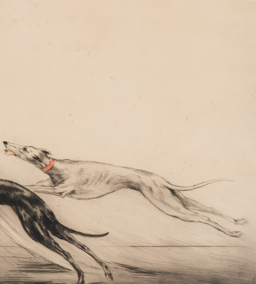 Lot 226: Louis Icart Lithograph, Coursing II