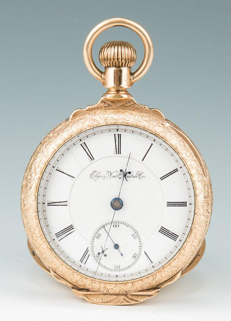 Lot 22: Elgin pocket watch; 10k Masonic pendant