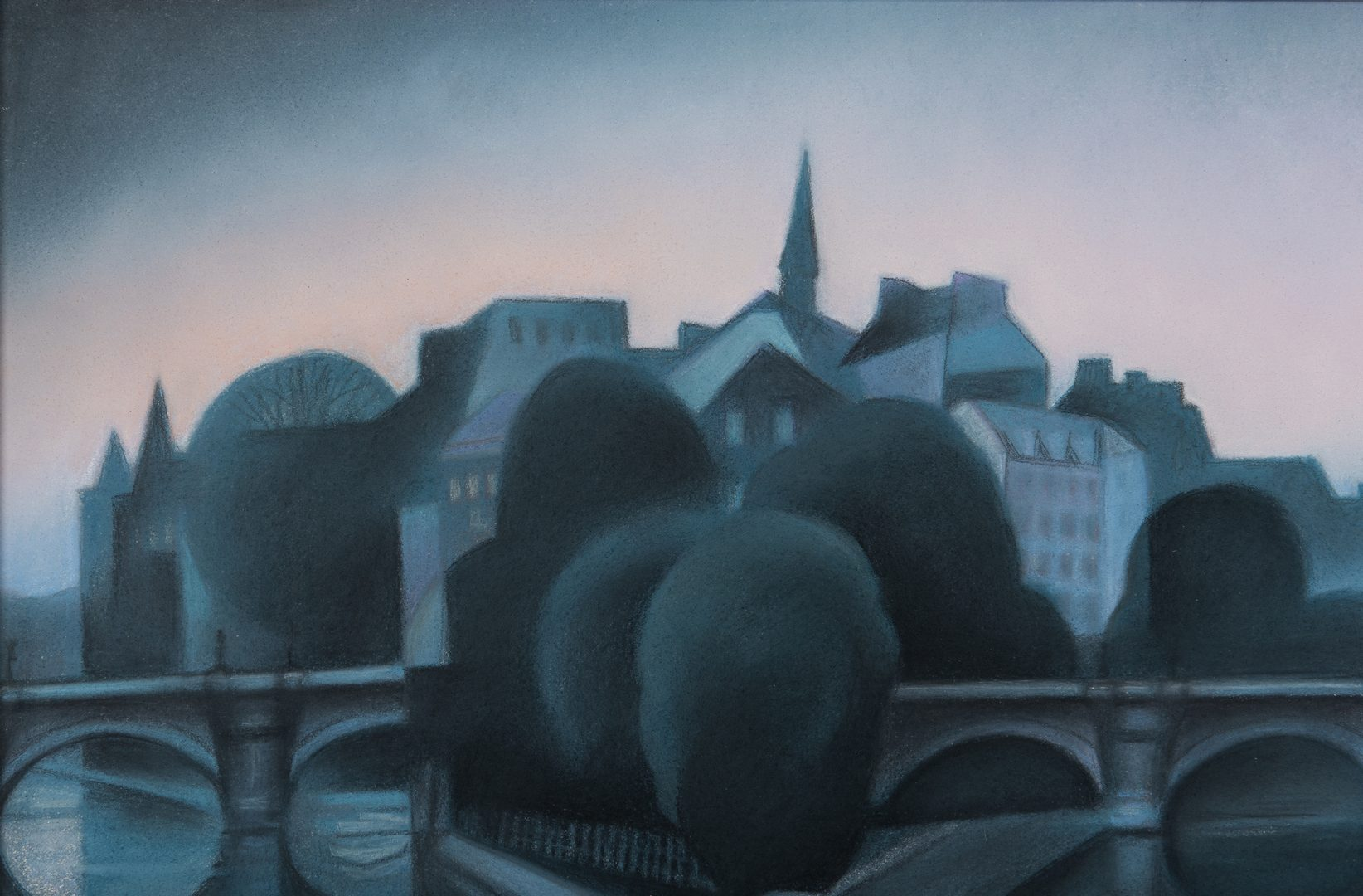 Lot 231: Gary R. Kelley Pastel Cityscape