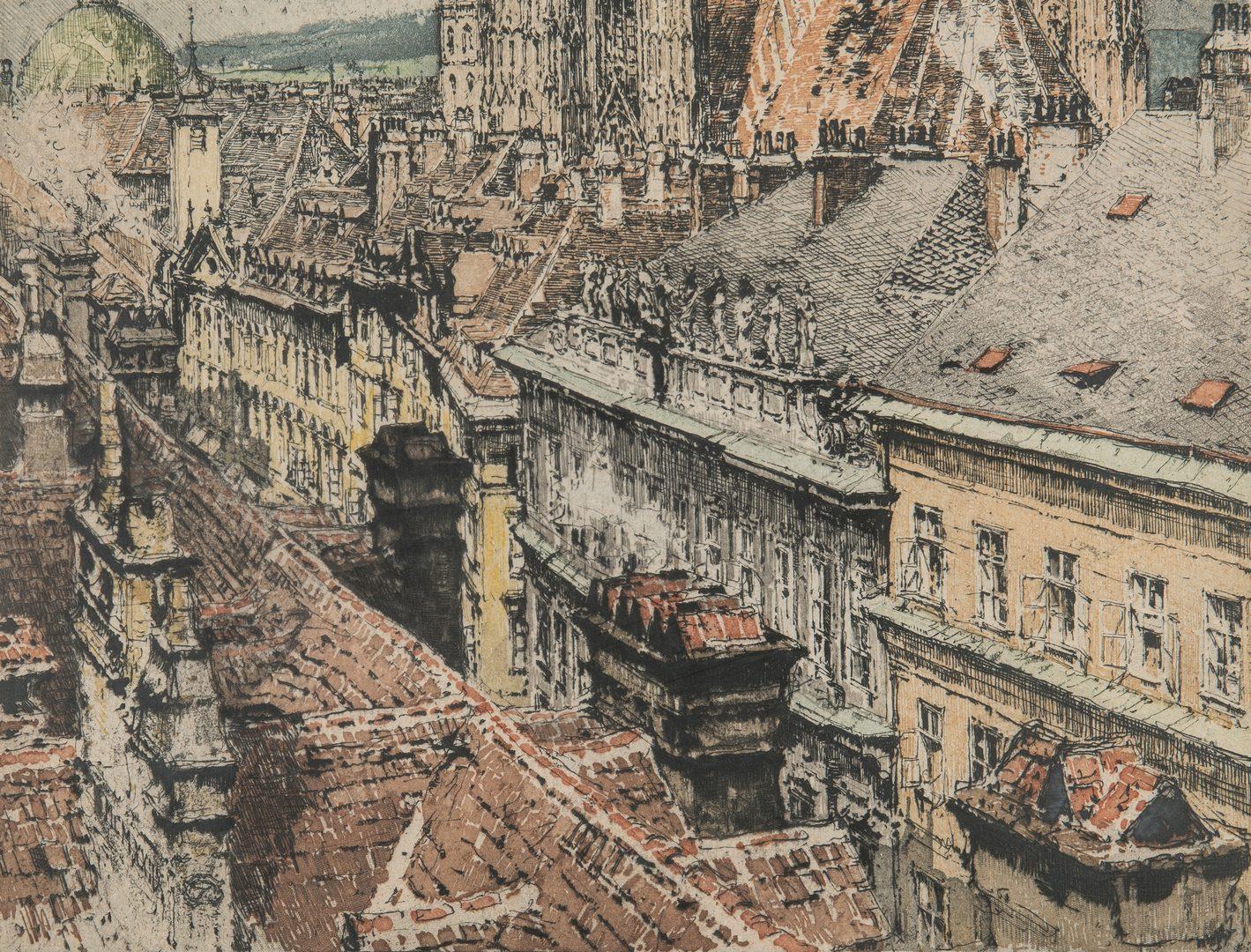Lot 242: 2 L. Kasimir Colored Etchings, European Scenes