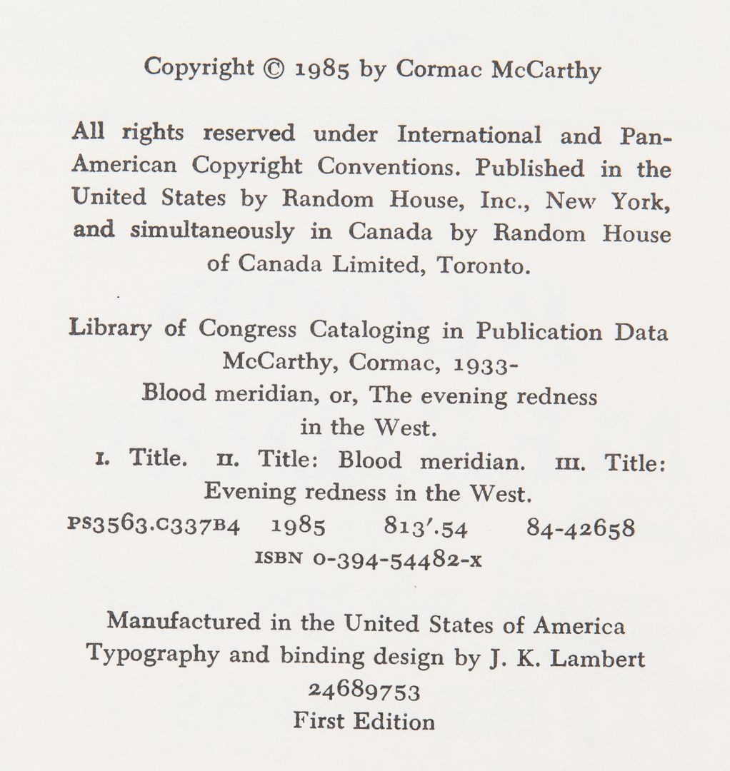 Lot 244: 3 Cormac McCarthy First Edition Books, incl. Blood Meridian, Remainders