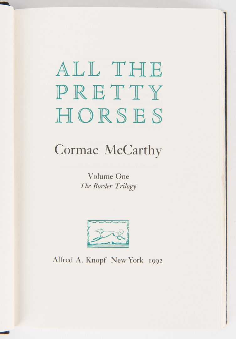Lot 245: 4 Cormac McCarthy 1st Eds., incl. Border Trilogy