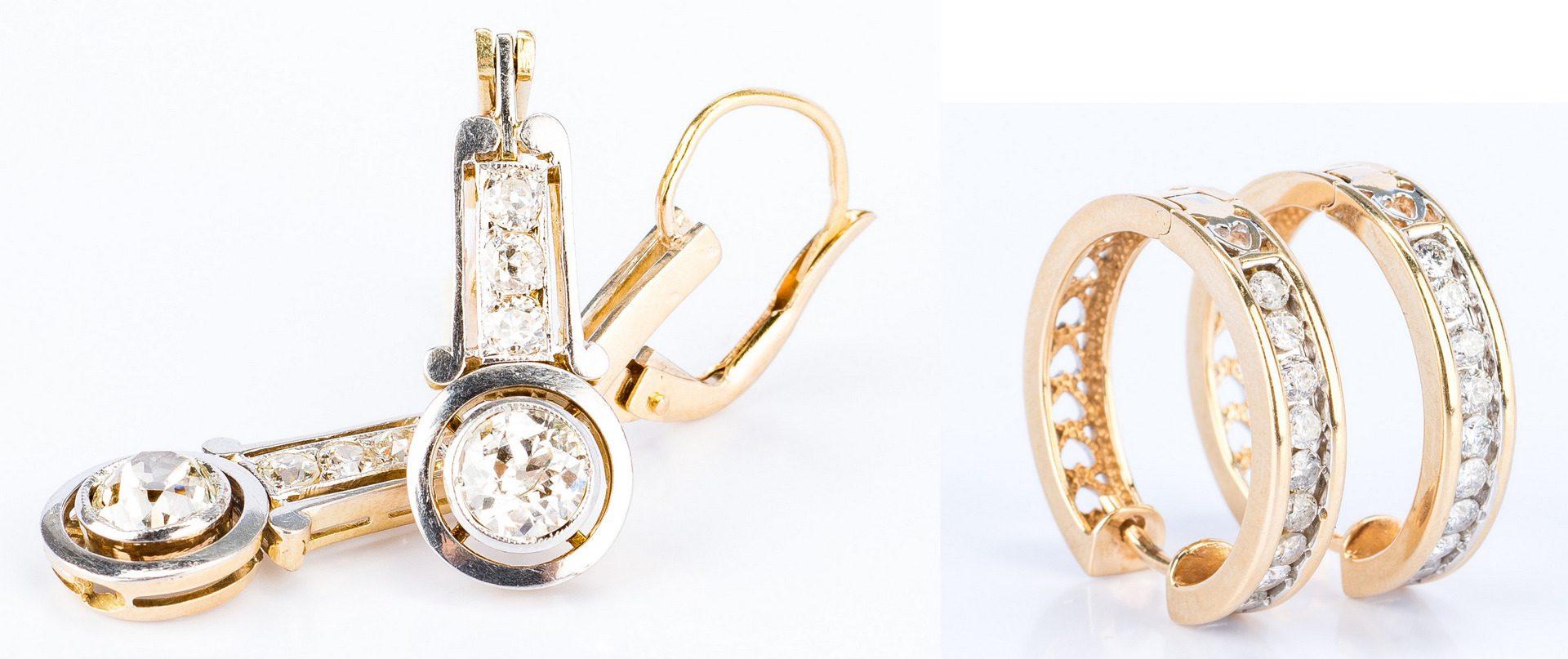 Lot 24: 2 Pair 14K Diamond Earrings for Pierced Ears