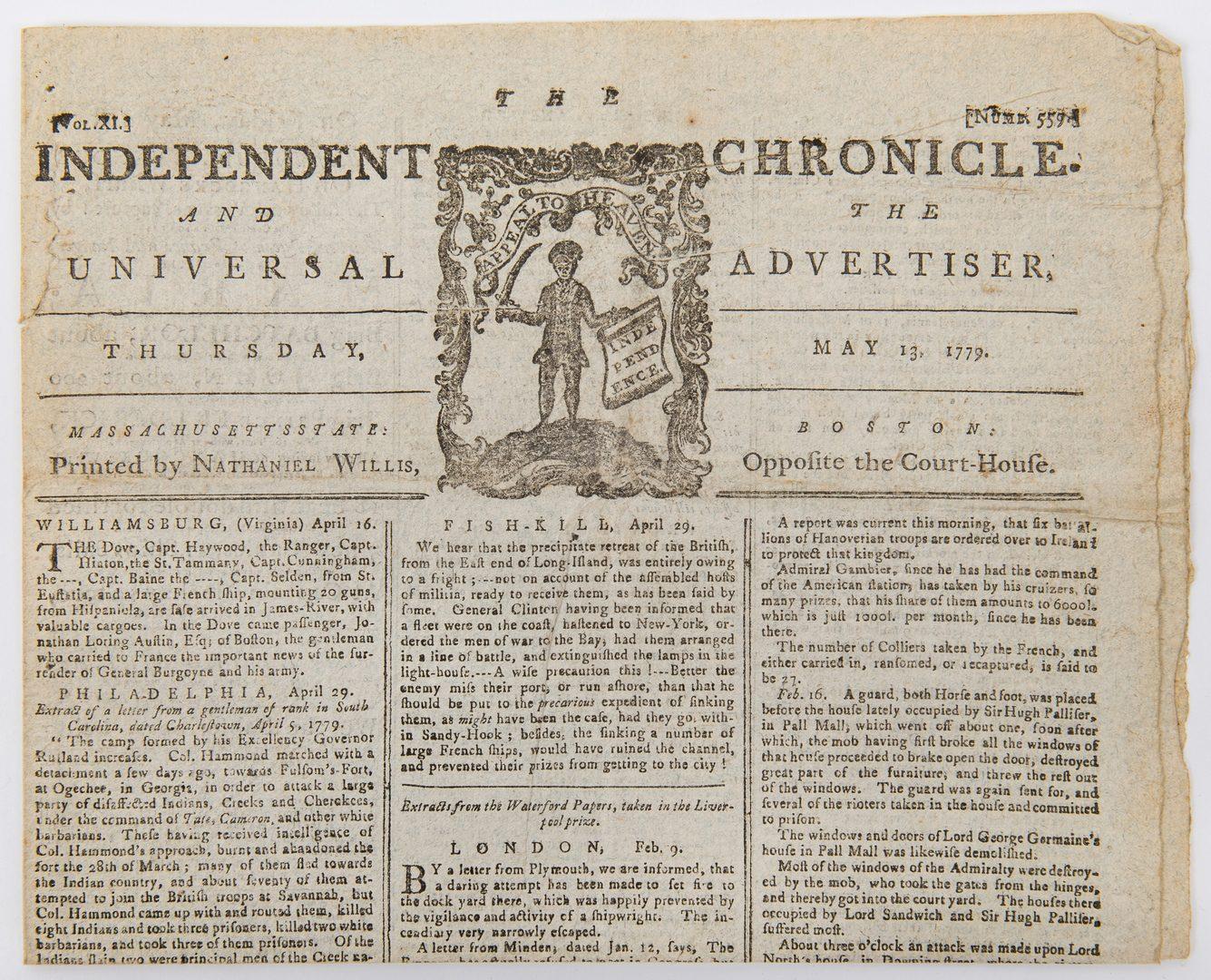 Lot 255: 2 Revolutionary War Newspapers