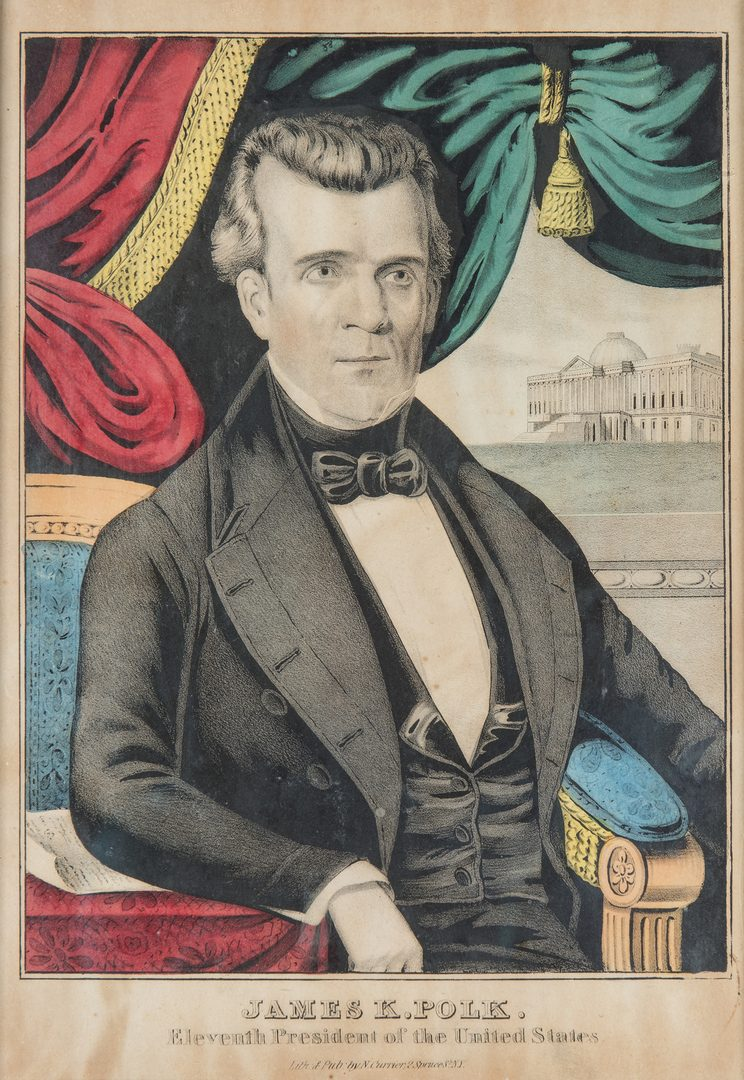 Lot 257: Polk and President Lithographs plus Penmanship Drawing, 3 items
