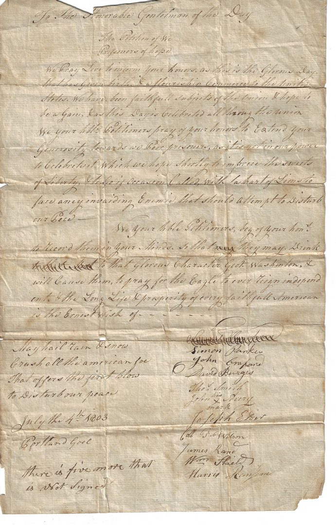 Lot 259: 4 Early 19th Cent. Documents, incl. Dearborn Family, Prisoner Petition