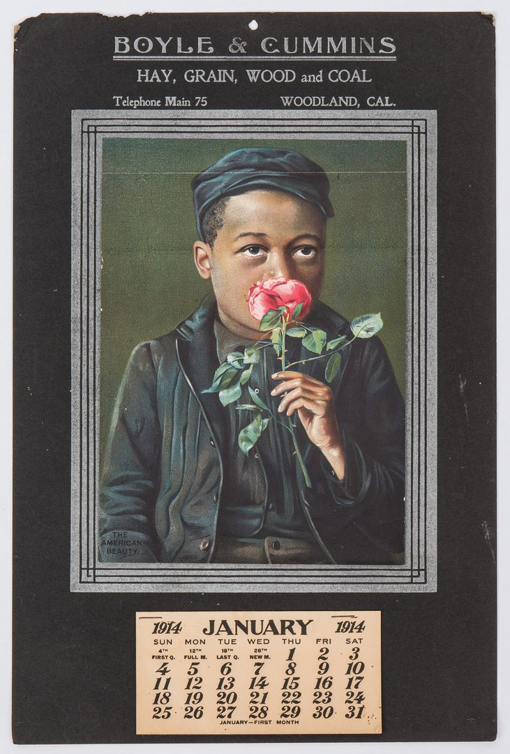 Lot 263: 14 Black Americana Items, incl. 1914 Calendar, Booklet, Photographs