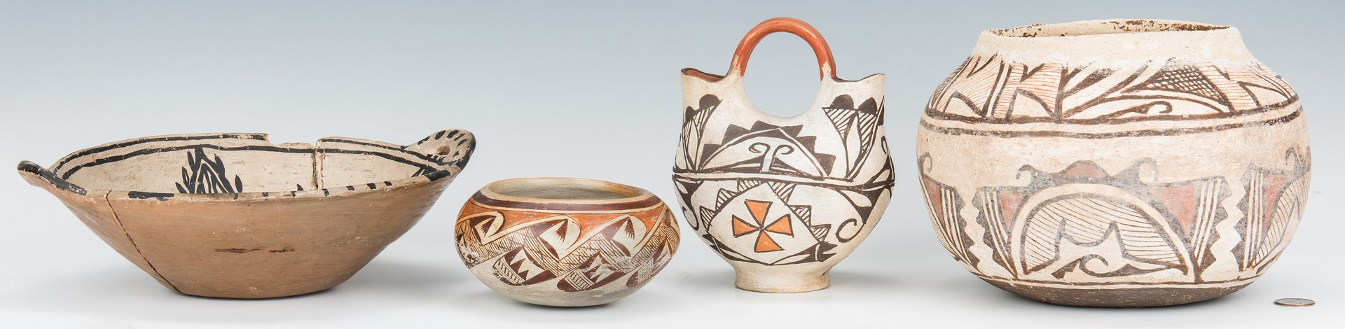 Lot 277: 4 Native American Pottery Items, incl. Nellie Nampeyo