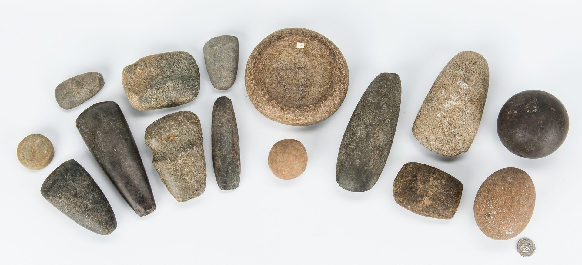 Lot 282: 15 Native American Stone Artifacts, incl. Discoidals