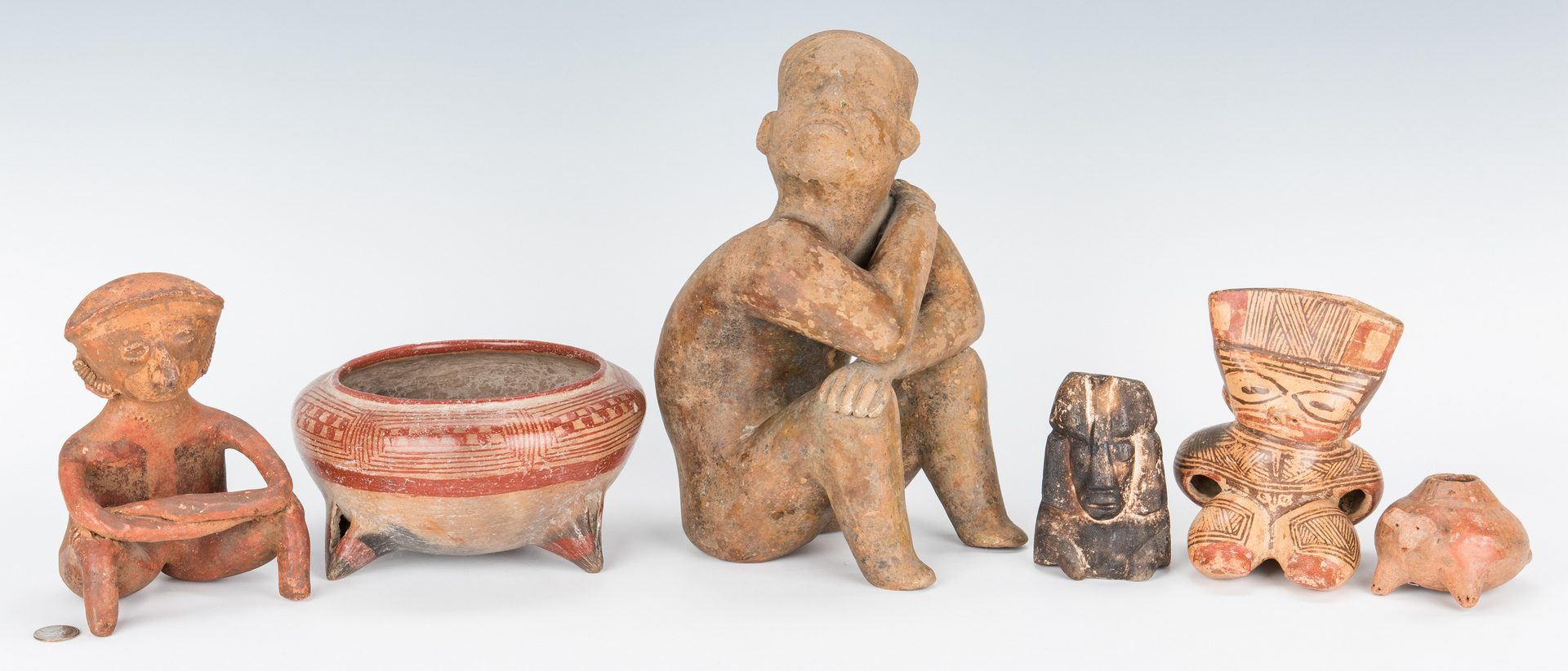 Lot 285: 6 Pre-Columbian Pottery & Stone Effigies, incl. Colima Culture