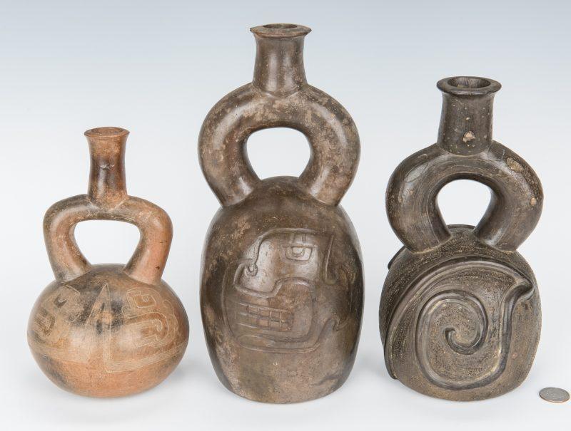 Lot 287: 3 Peruvian Chavin Stirrup Spout Pottery Vessels