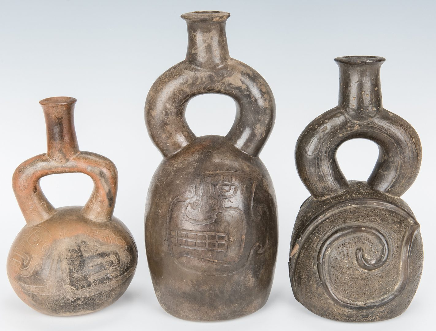 Lot 287: 3 Peruvian Chavin Stirrup Spout Pottery Vessels