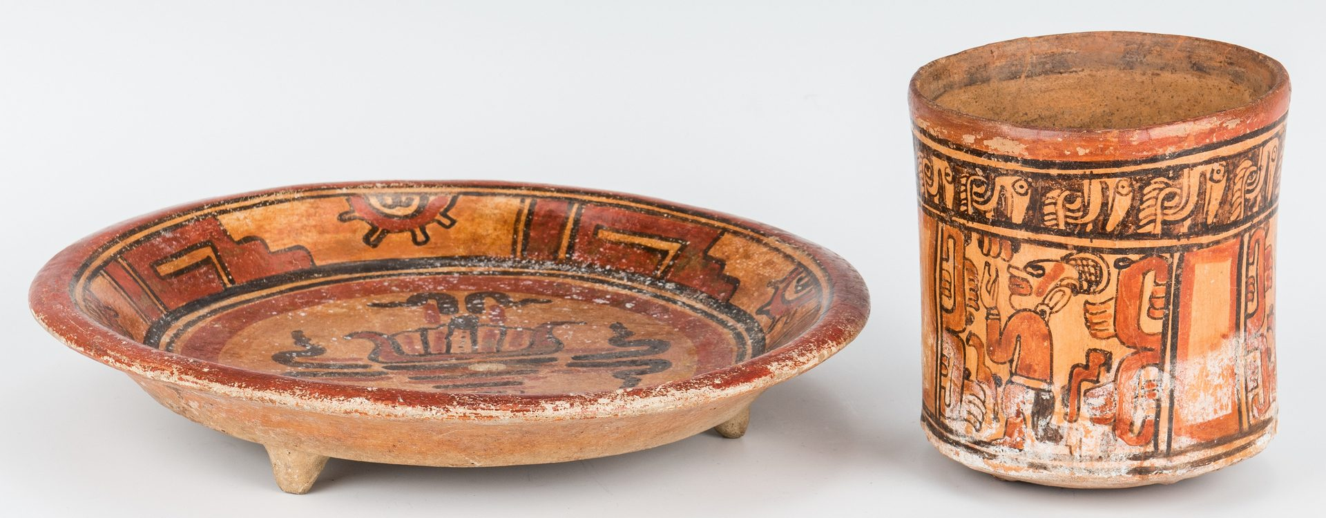 Lot 288: 2 Mayan Polychrome Pottery Items, incl. Honduras Charger