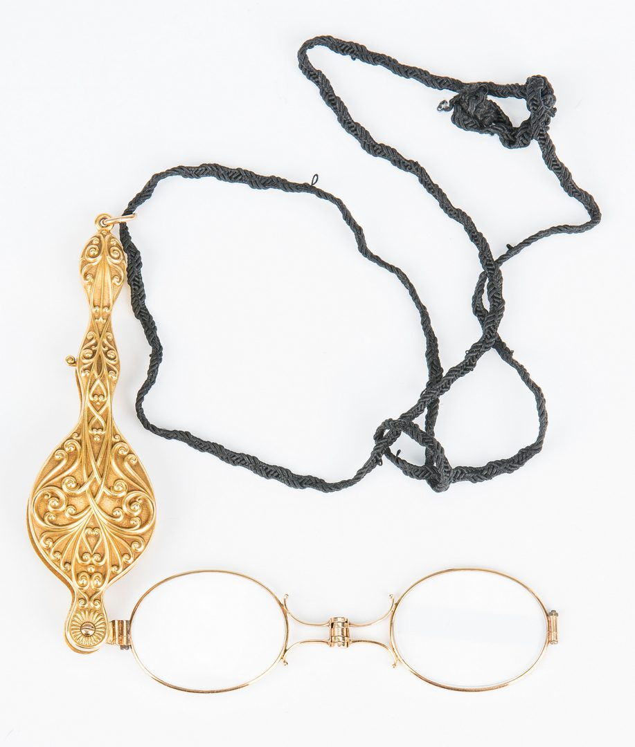 Lot 28: Gold Lorgnette and Bead Jewelry