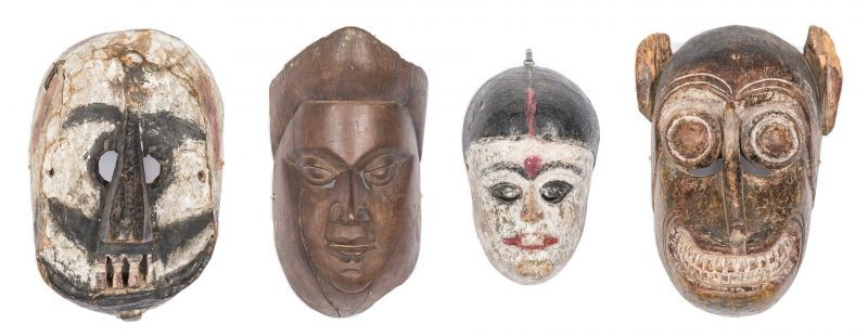 Lot 304: 4 Himalayan Carved & Painted Ritual Masks