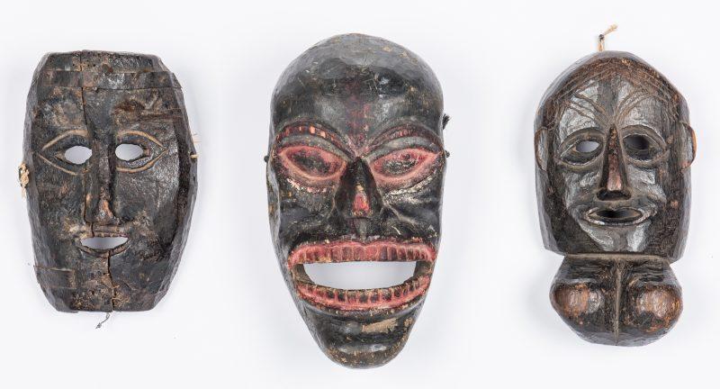 Lot 305: 3 Himalayan Carved Masks