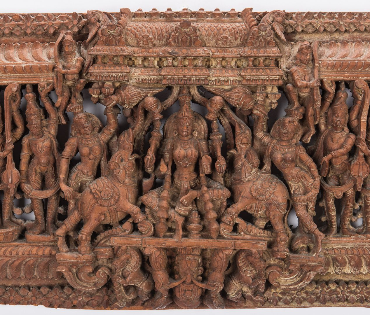 Lot 306: 2 Carved Wood Asian Temple Panels