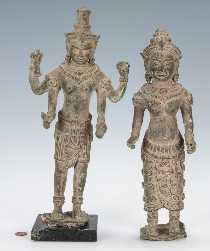 Lot 307: 2 Tibetan Bronze Deity Sculptures
