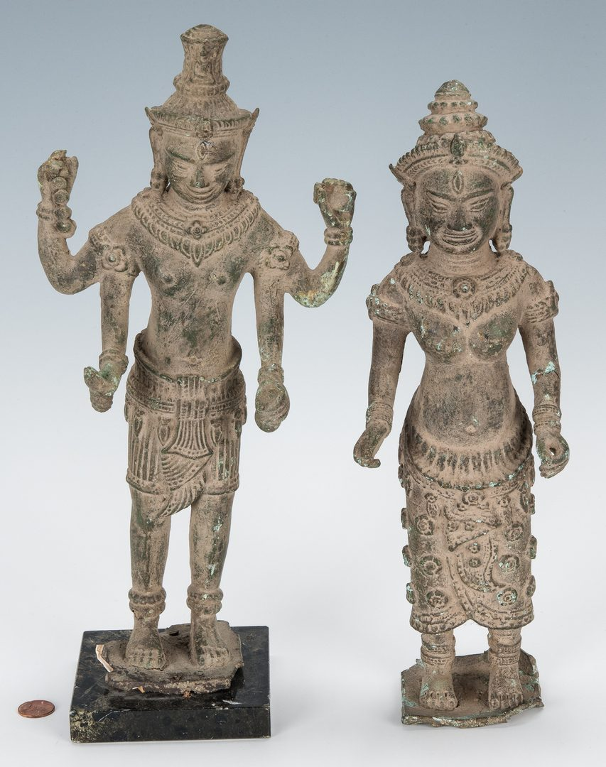 Lot 307: 2 Tibetan Bronze Deity Sculptures