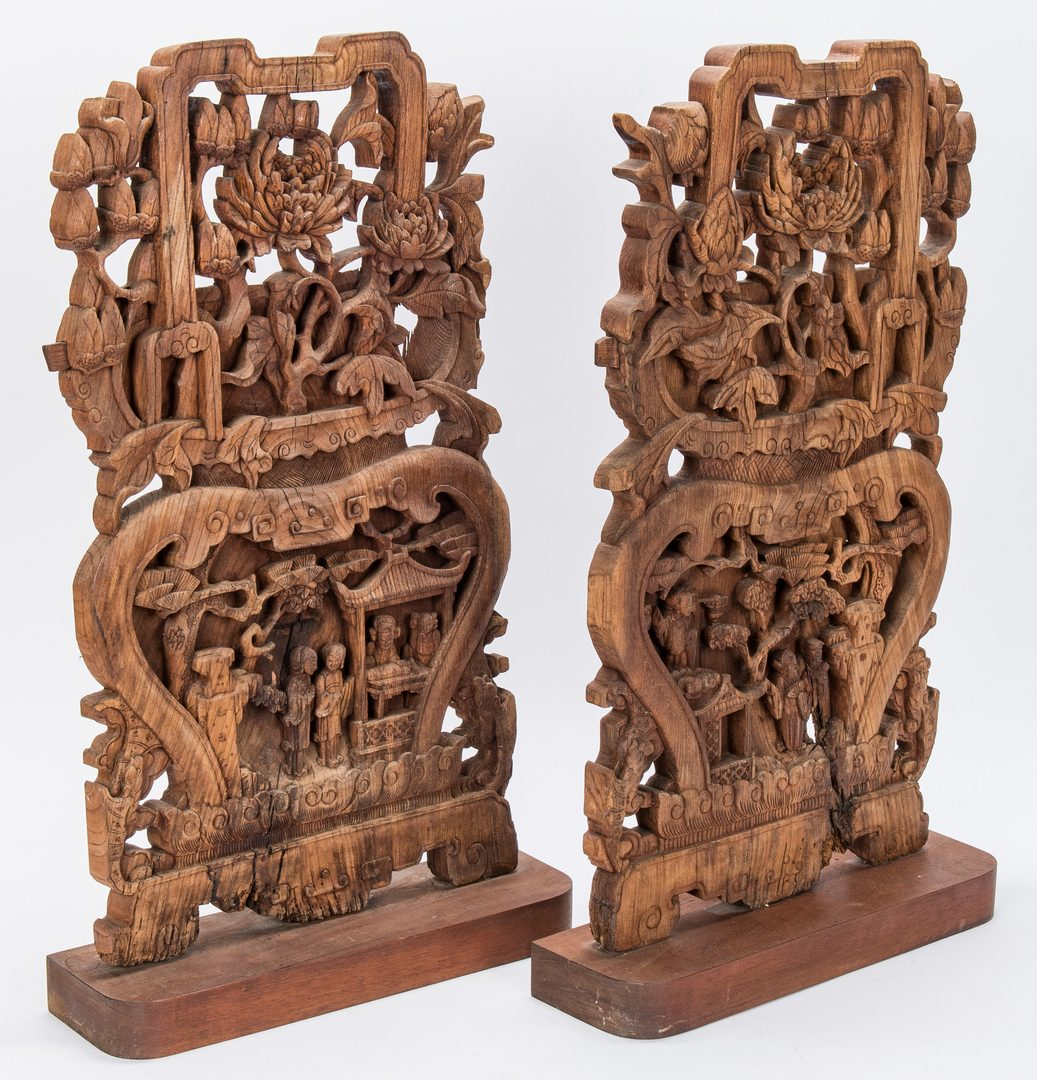 Lot 309: 5 Asian Items, Bronze Religious Figurals, Chinese Wood Panels