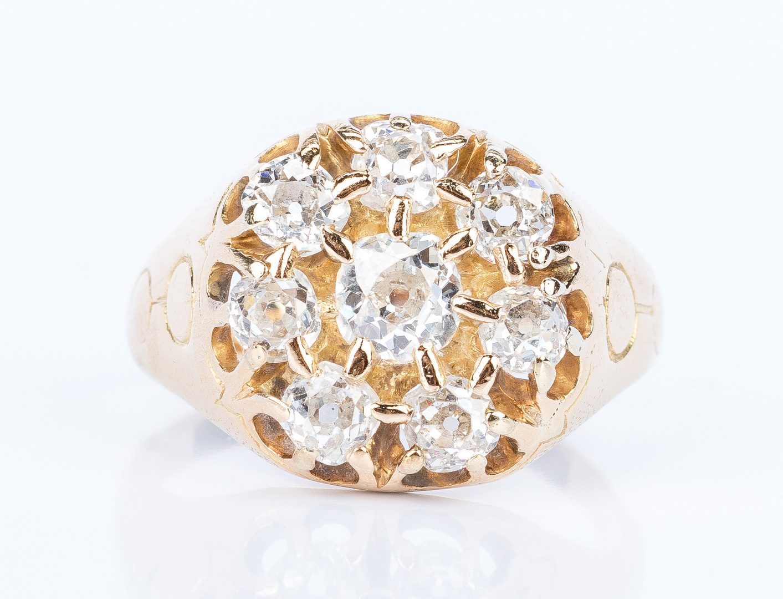 Lot 30: Vintage 14K Yellow Gold Diamond Ring