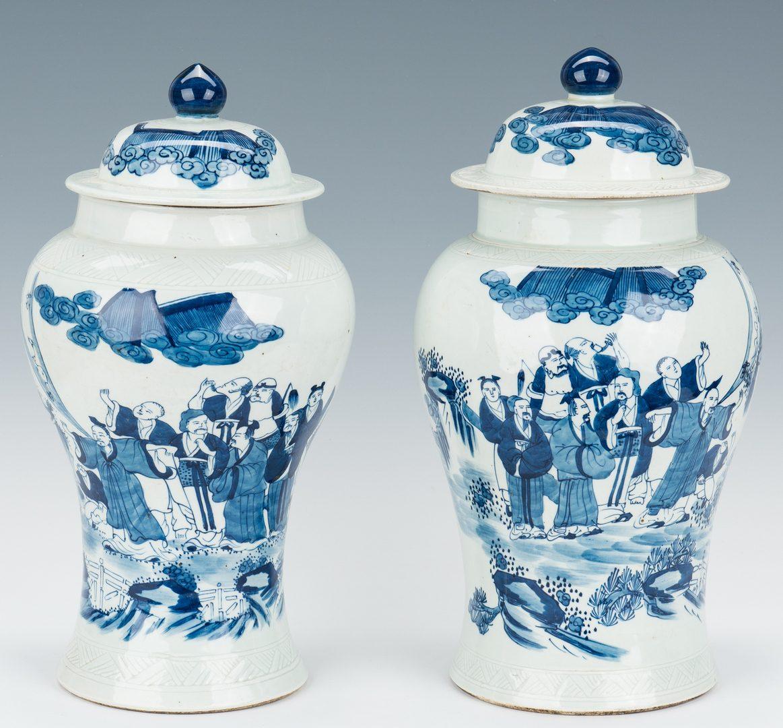 Lot 312: 2 Chinese Porcelain Blue & White Covered Vases