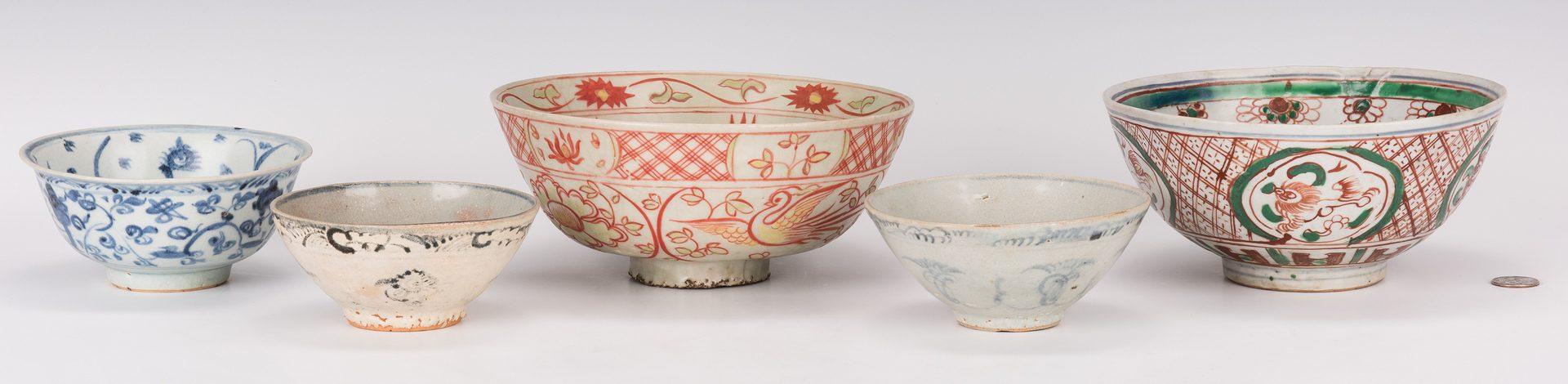 Lot 318: 5 Chinese Porcelain Bowls, Wucai & Ming