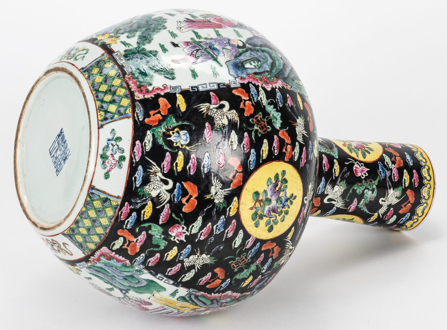 Lot 319: Pr. Chinese Famille Noire Floor Vases