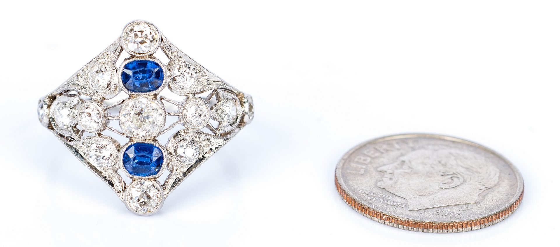 Lot 31: Art Deco Diamond Sapphire Ring