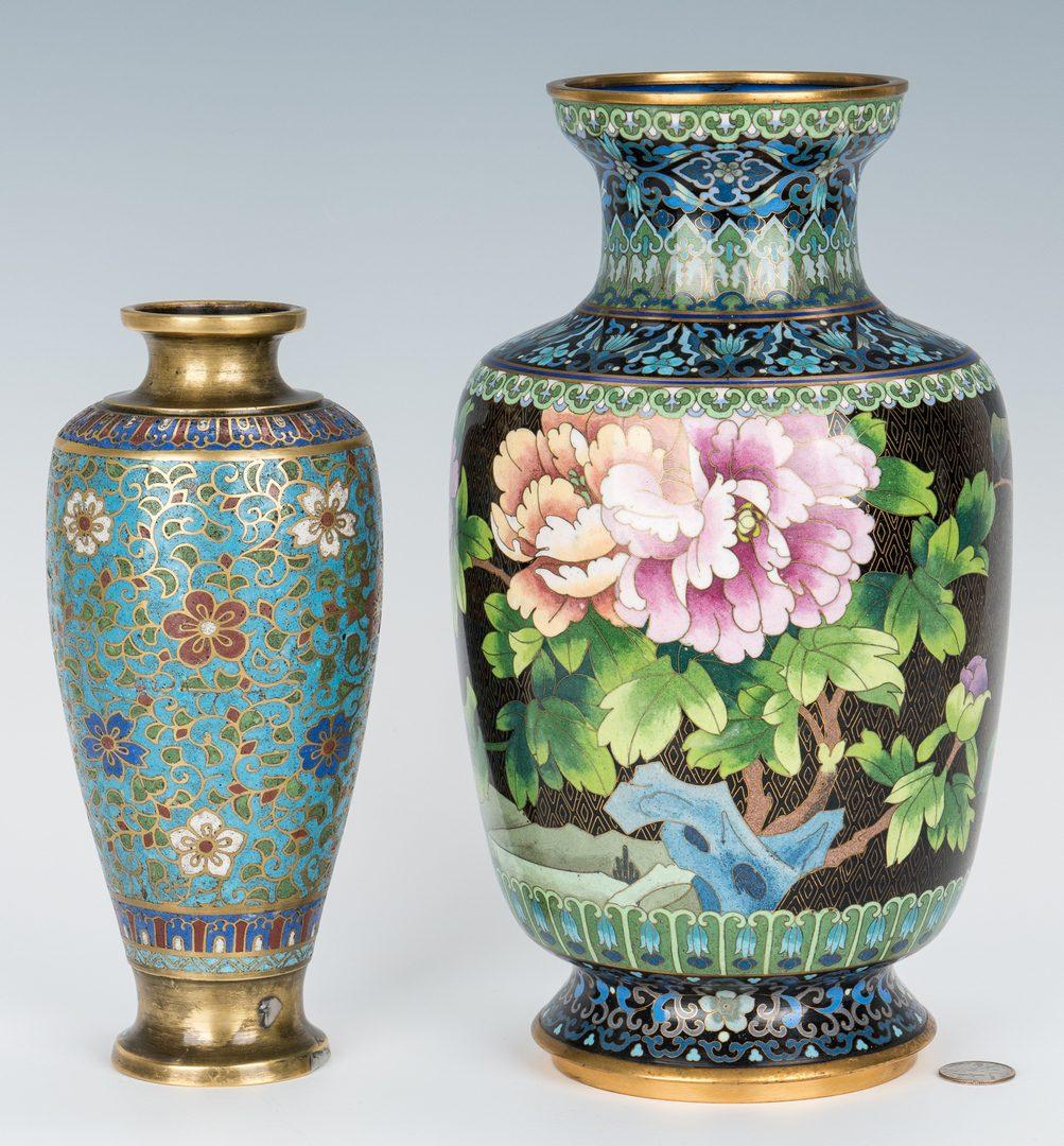 Lot 322: 2 Asian Cloisonne Vases