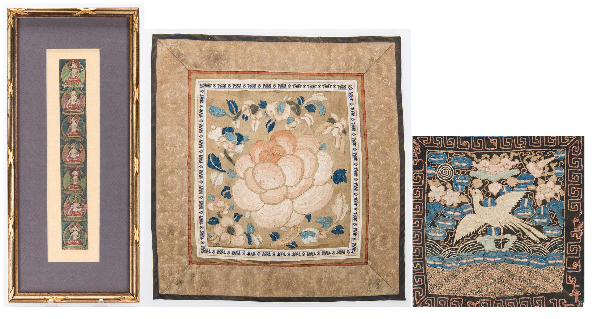 Lot 323: 2 Chinese Textiles & 1 Tibetan Thangka