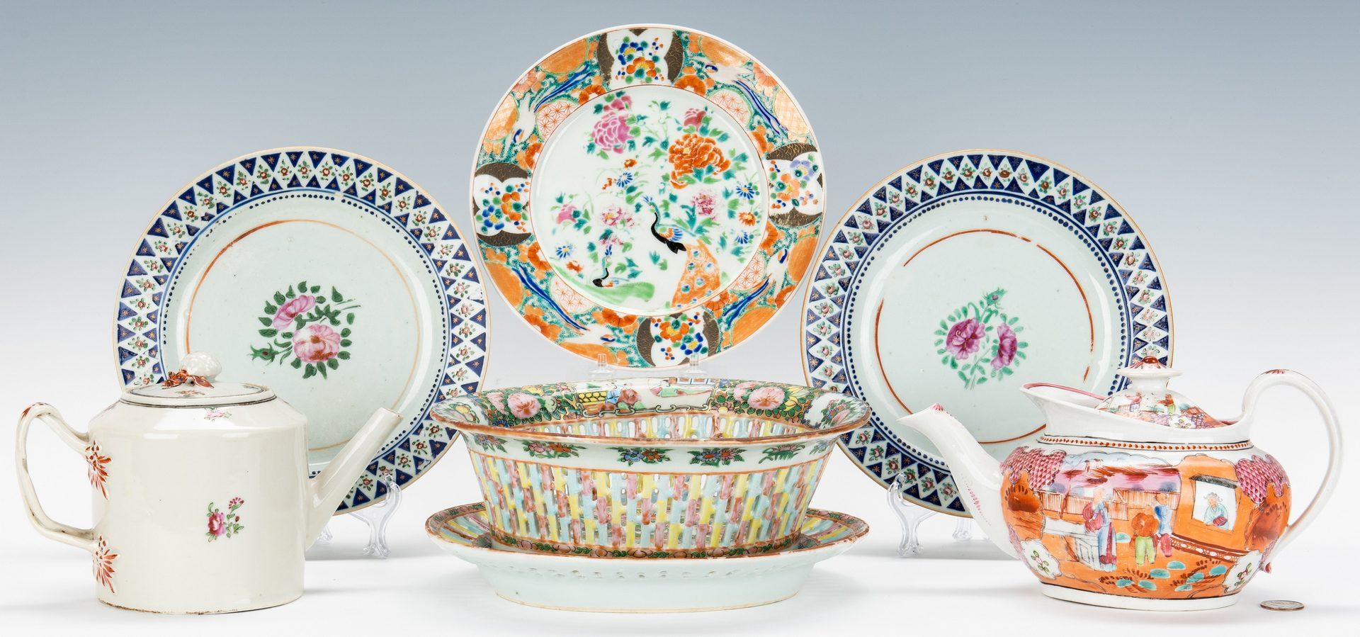 Lot 325: 6 Asian & English Porcelain Table Items, incl. teapots