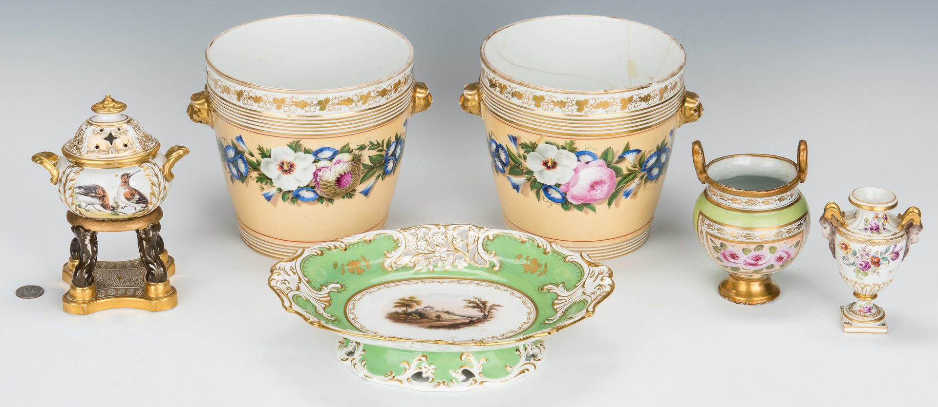 Lot 328: 6 pcs. English and Continental Porcelain