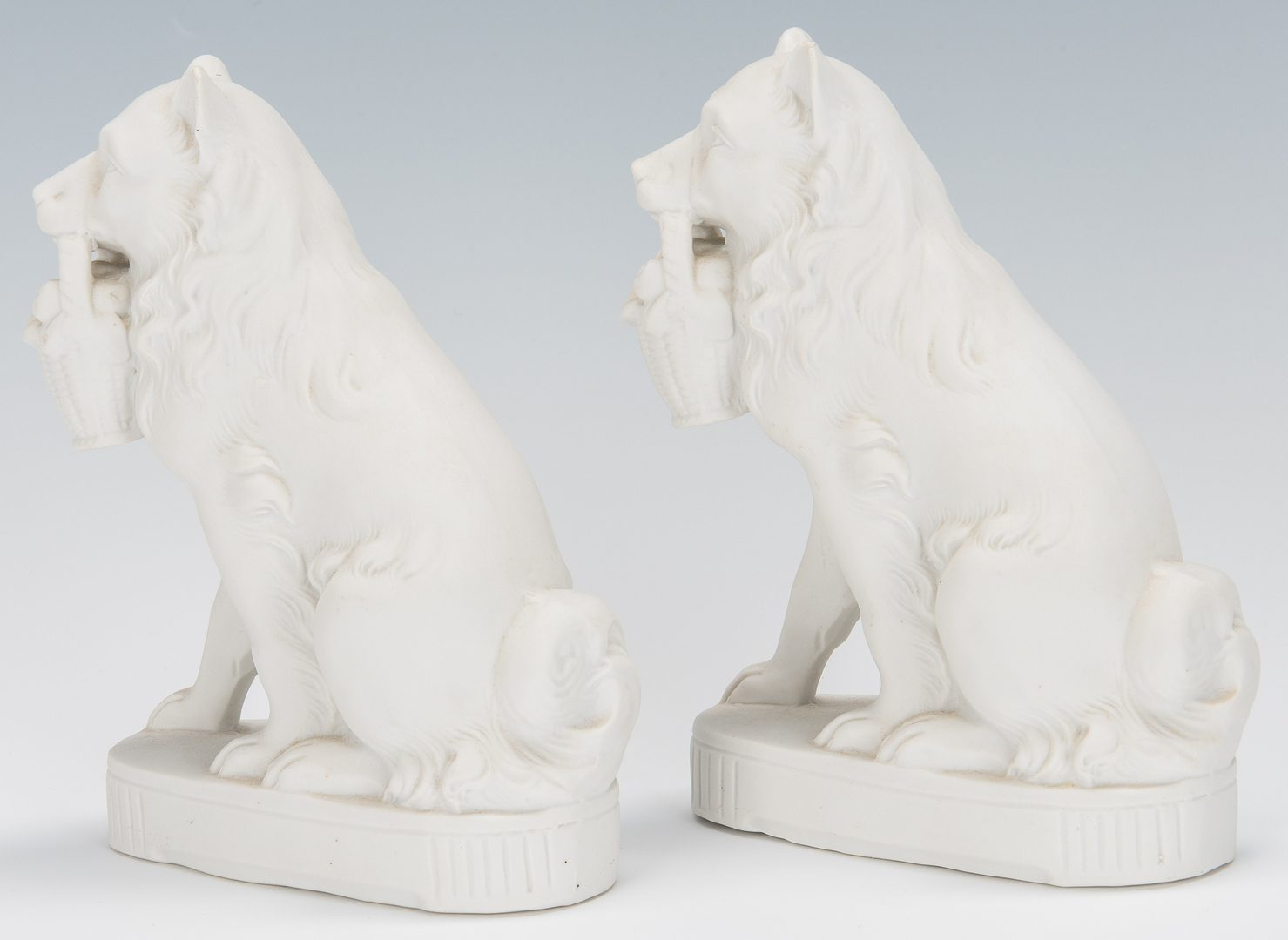 Lot 329: Group of 6 Parian Ware Dog Figures