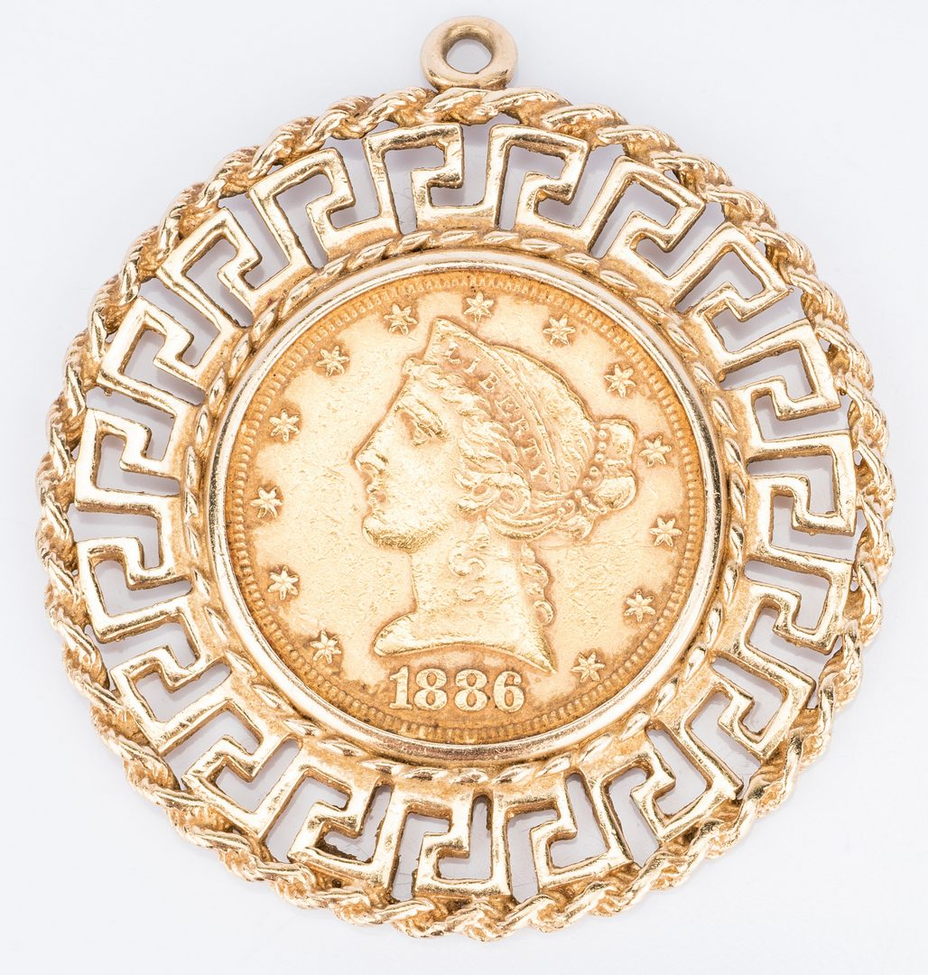 Lot 32: 1886 Gold Coin Pendant