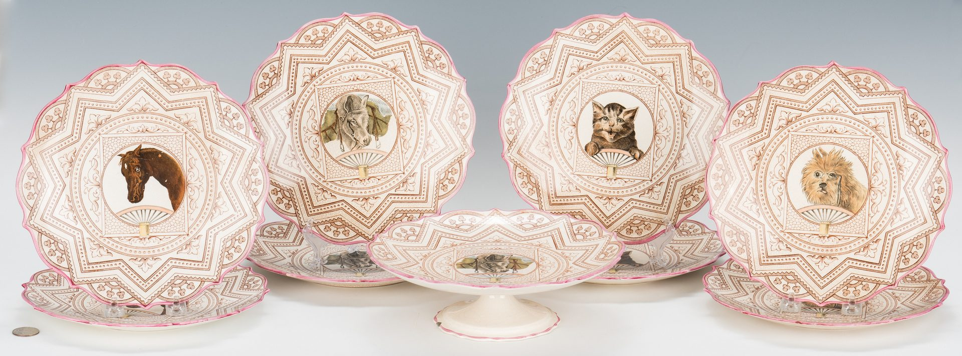 Lot 332: Animal Themed Creamware Dessert Set inc. Horse, Cats
