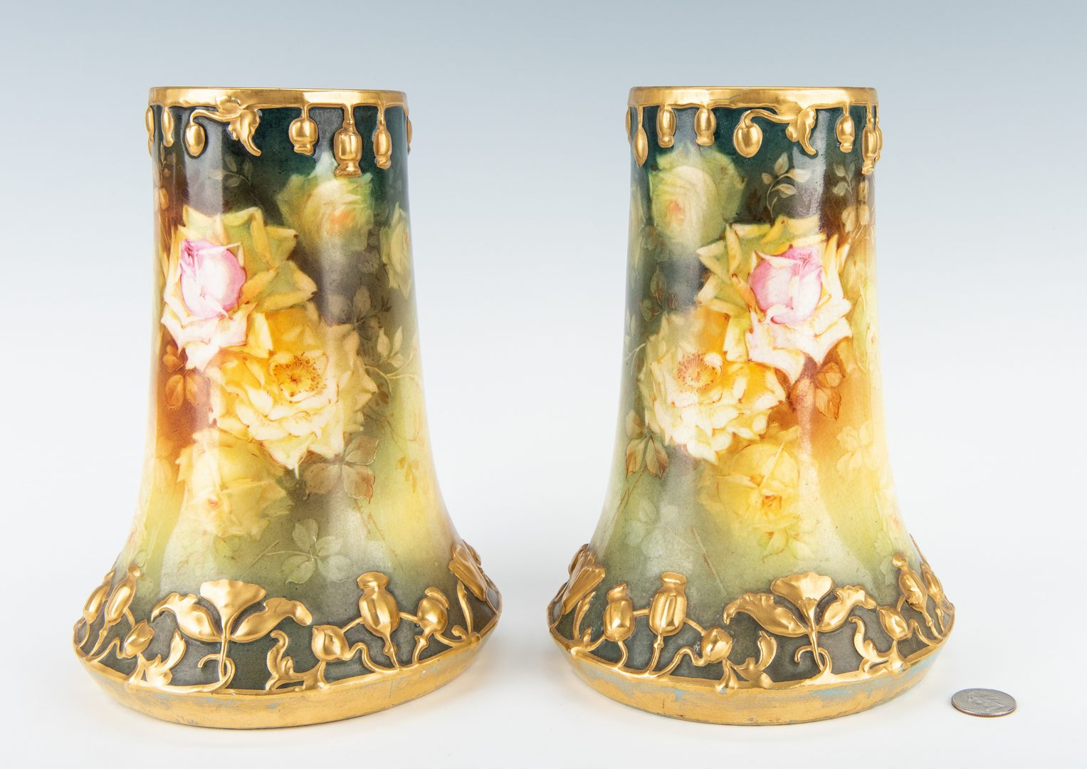 Lot 335: Pair Royal Bonn Art Nouveau Vases