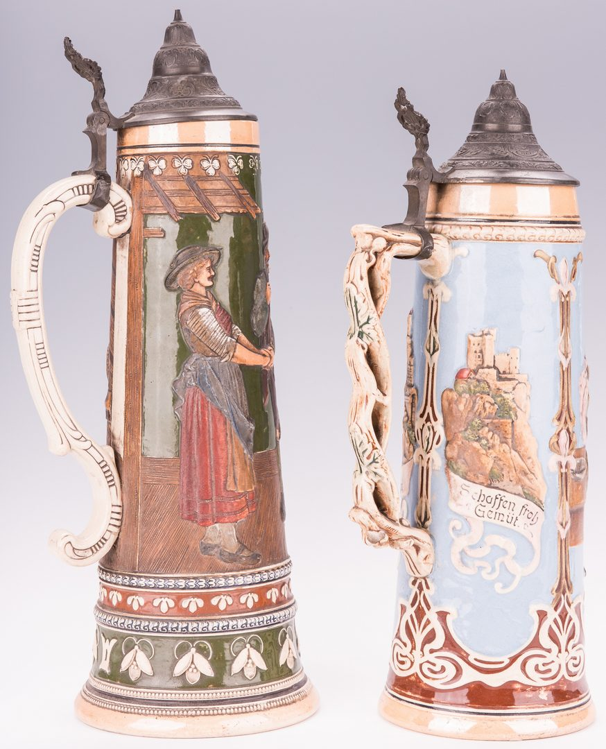 Lot 336: 2 Lg German Steins; 1 Arts & Crafts Tile