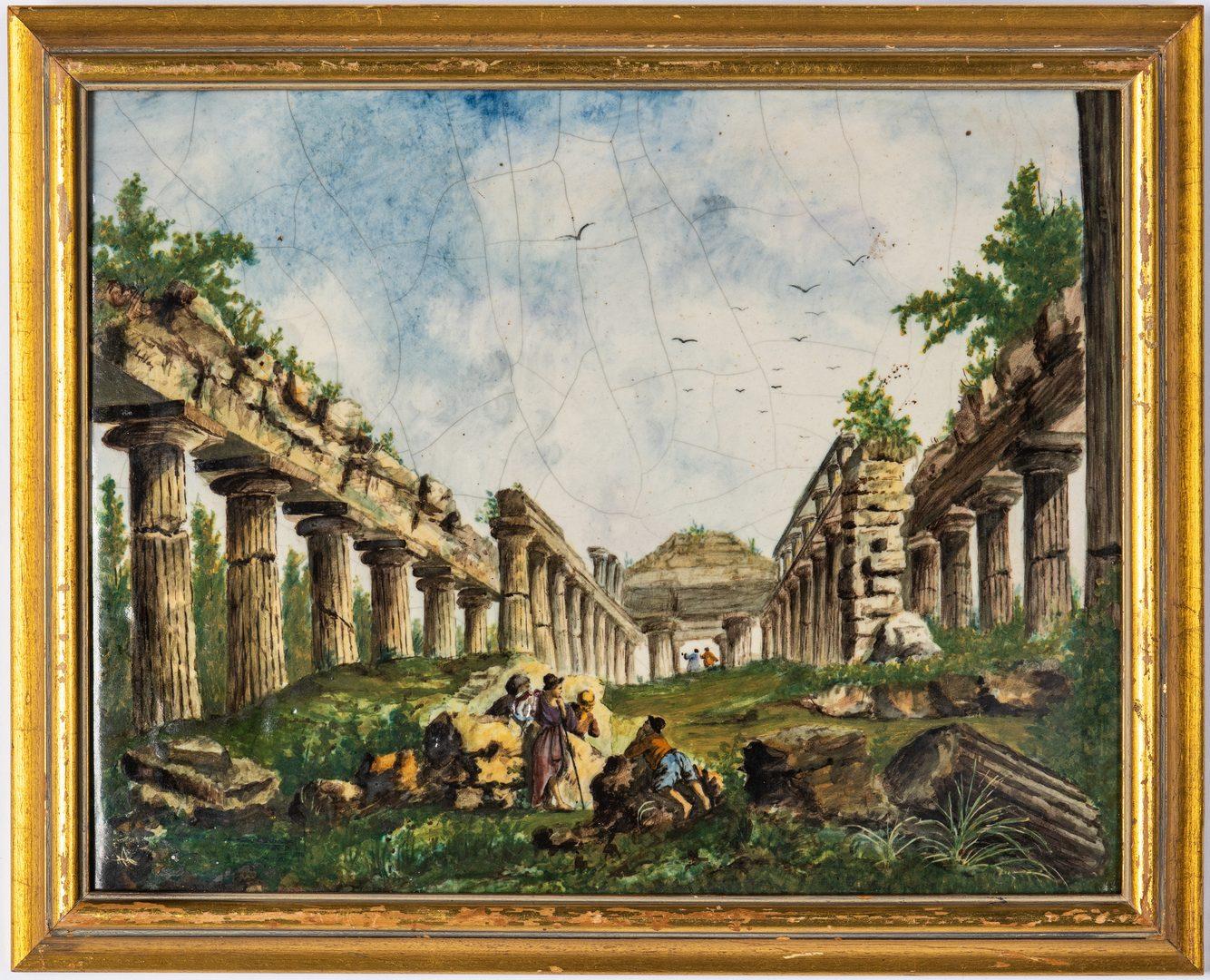 Lot 338: Framed Italian Scenic Tile