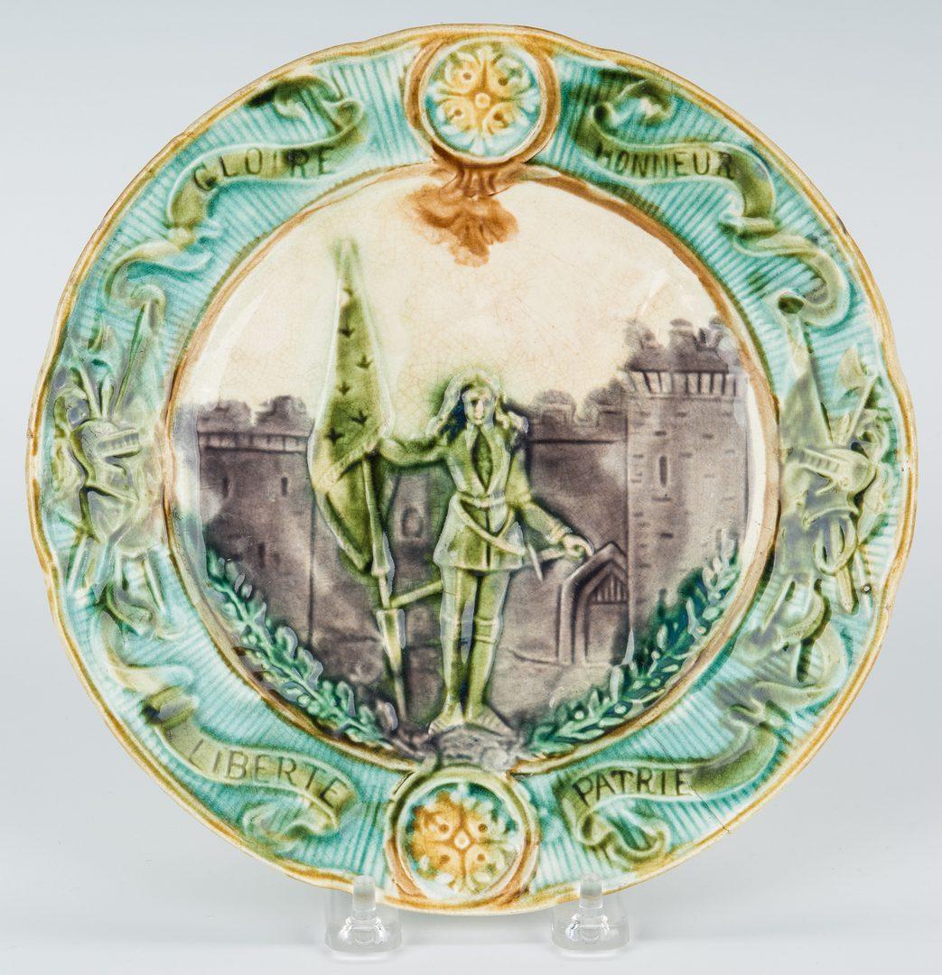Lot 339: 6 European Ceramic Dishes plus Tole Stand