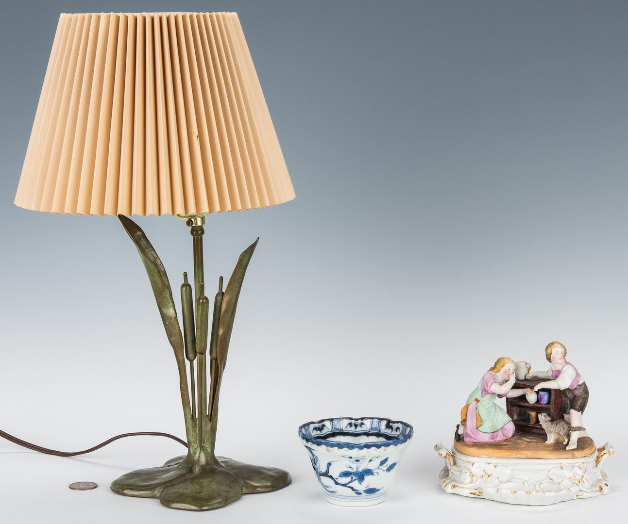 Lot 340: 3 Desk Items, incl. Lamp, Japanese Dish, & Inkwell