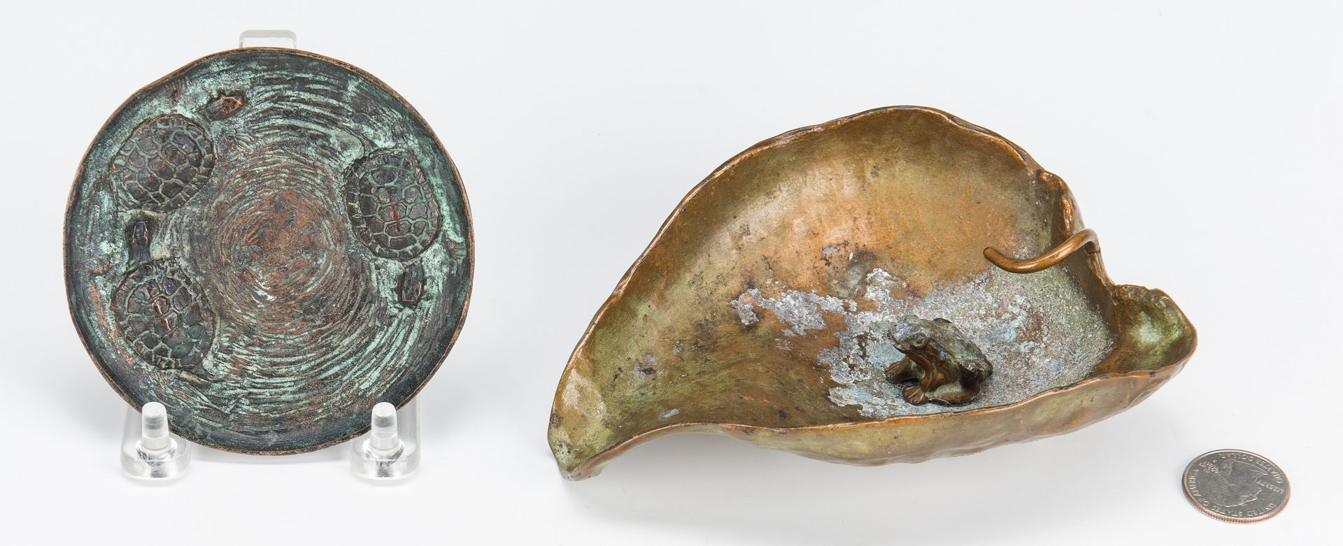 Lot 341: 2 Bronze Frog & Turtle Sculptures, incl. McClelland Barclay