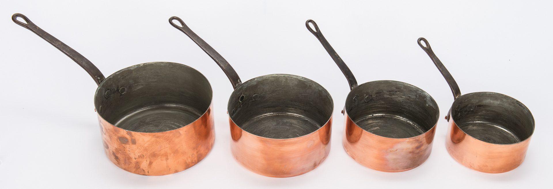 Lot 344: 7 Graduated Copper Pots