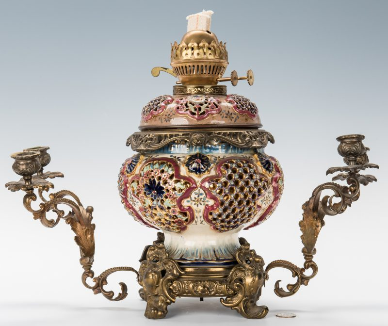 Lot 345: Hungarian Ignac Fischer Reticulated Urn Lamp