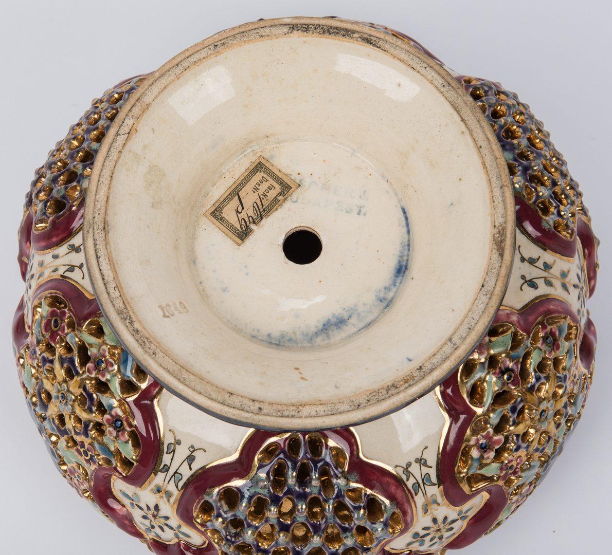 Lot 345: Hungarian Ignac Fischer Reticulated Urn Lamp