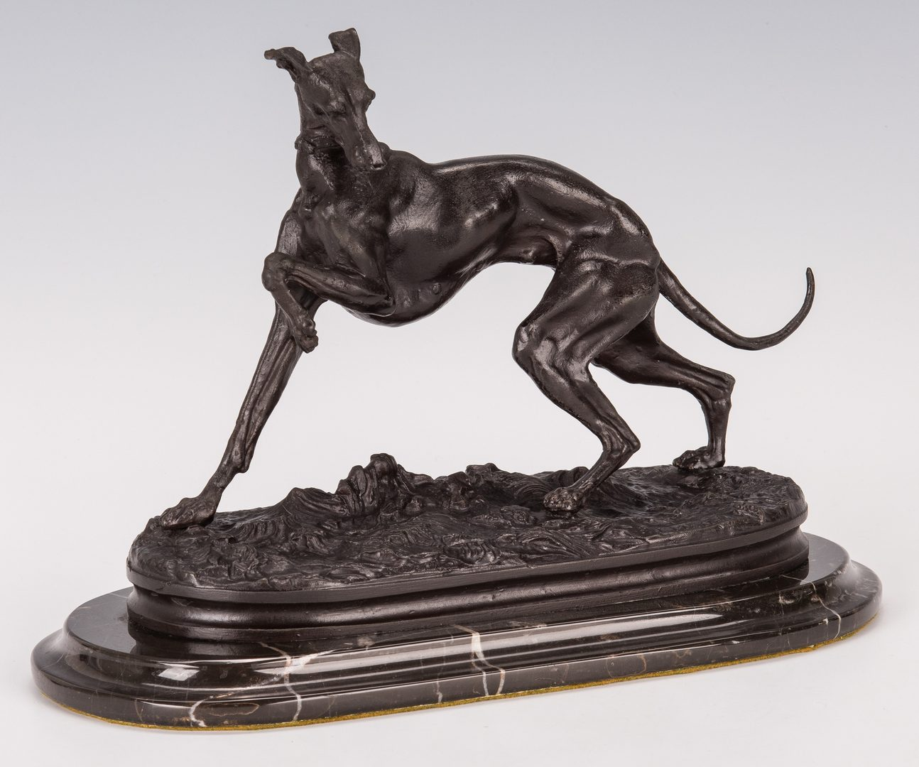 Lot 347: Matthew Boulton Chamberstick plus 2 Candlesticks & Bronze Dog