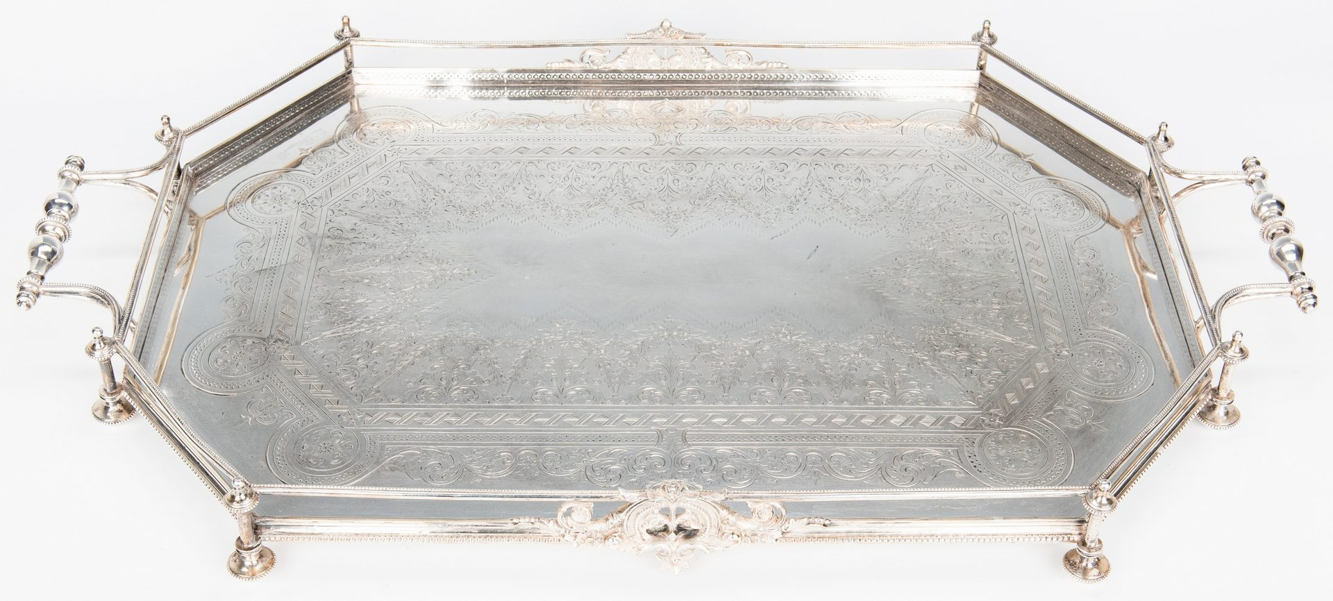 Lot 348: Scottish Silver Serving Tray w/ Gallery