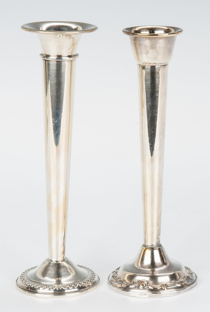 Lot 354: Assorted Sterling Vases and Candlesticks