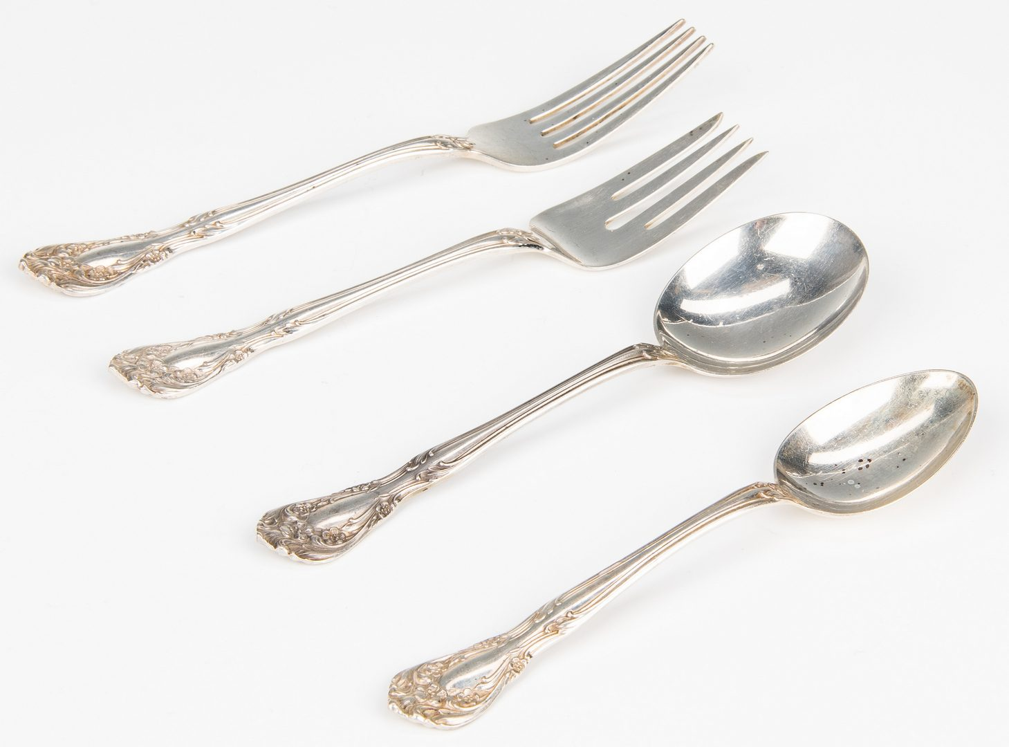 Lot 35: 49 pcs Alvin Sterling Flatware, Chateau Rose