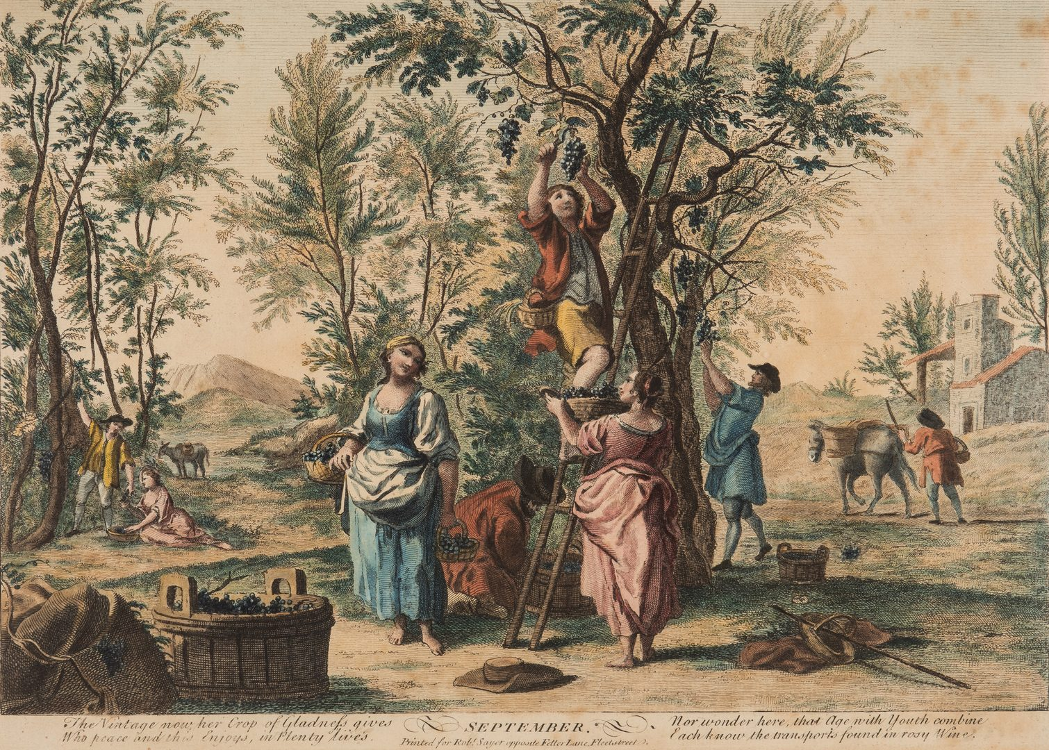 """Lot 365: R. Sayer: 2 """"Months of the Year"""" 18th C. Engravings"""